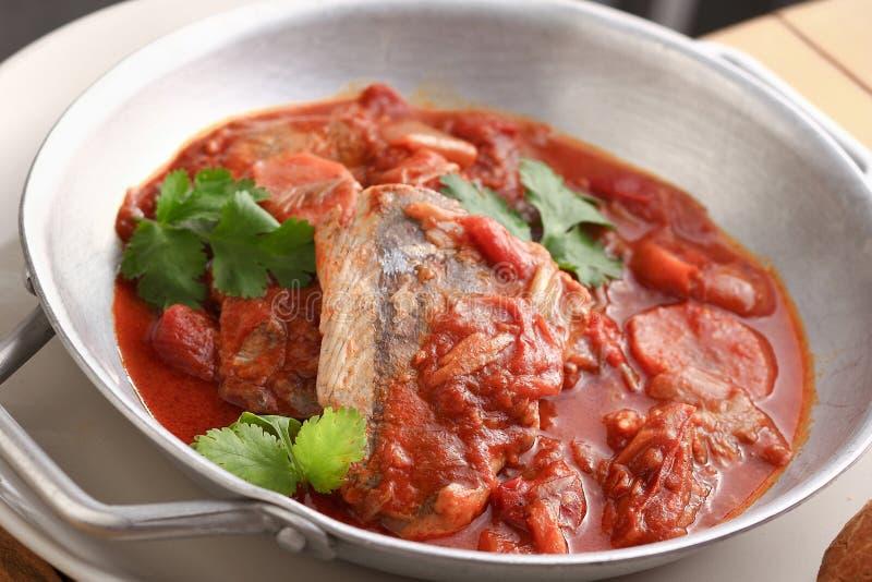 Fisk- och tomatsås arkivbilder