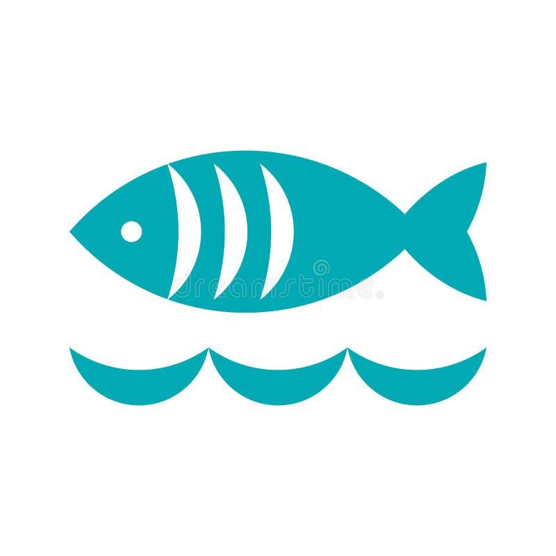 Fisk- och vågsymbol vektor illustrationer