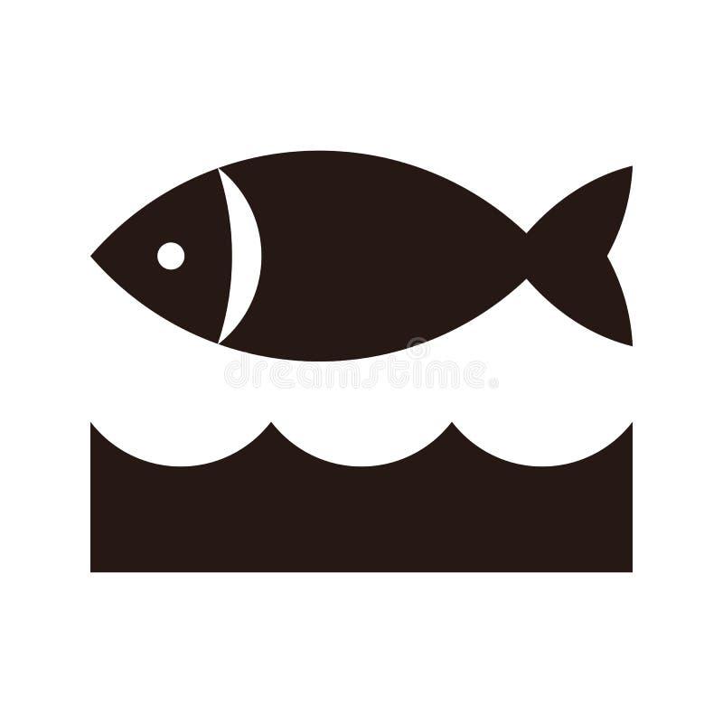 Fisk- och vågsymbol stock illustrationer