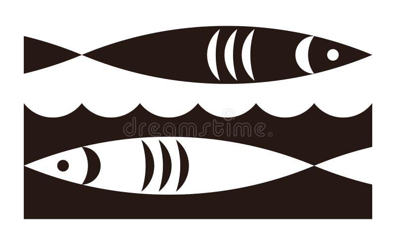 Fisk- och vågsymbol royaltyfri illustrationer