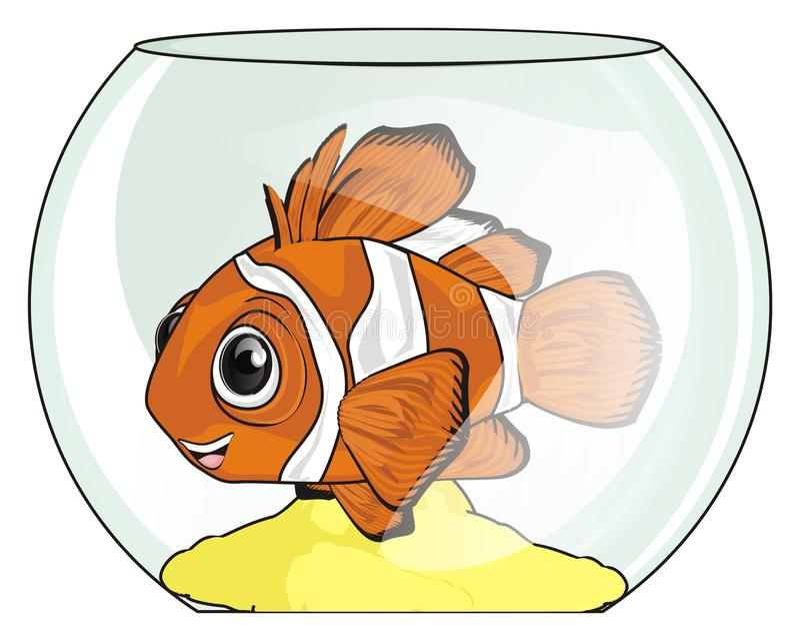 Fisk på exponeringsglas royaltyfri illustrationer