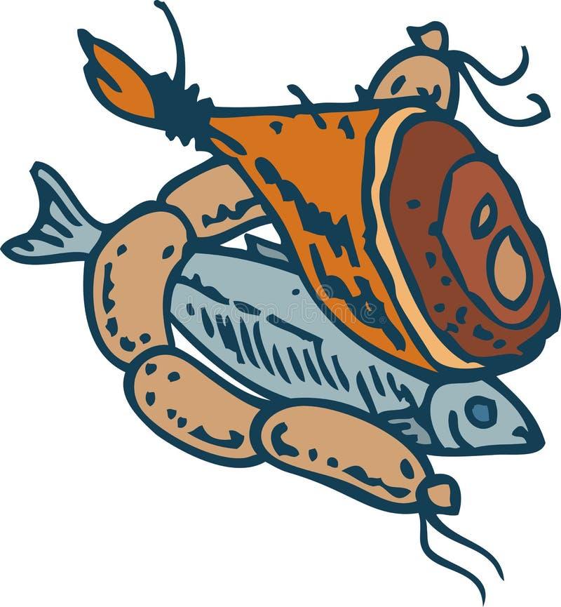 Fisk, skinka och korvar stock illustrationer
