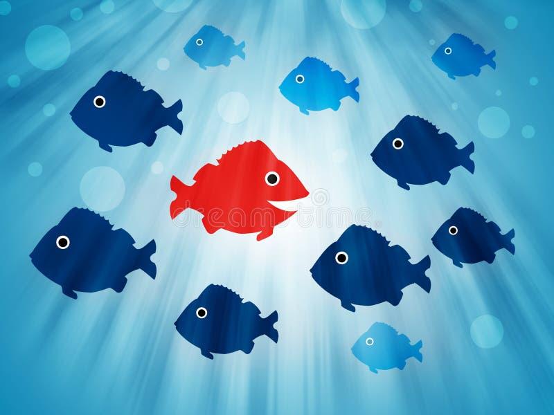 Fisk som simmar mitt emot riktning vektor illustrationer