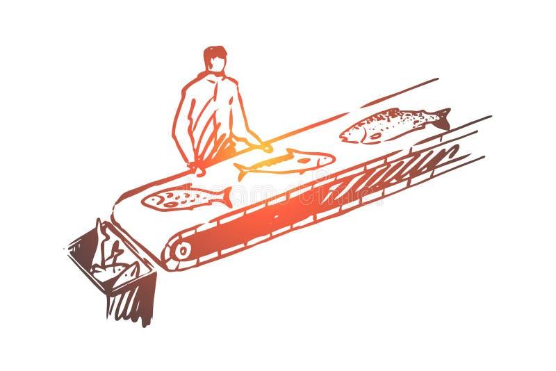 Fisk sortering, bransch, produktion, rått begrepp Hand dragen isolerad vektor royaltyfri illustrationer