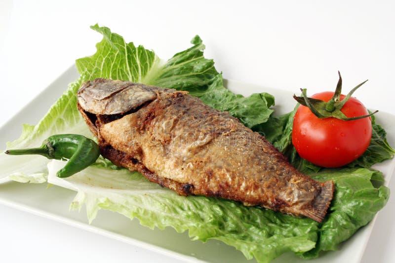 fisk stekt grönsallat arkivbilder