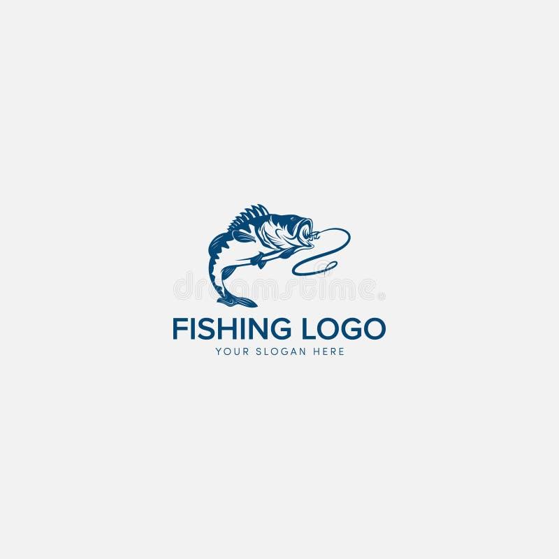 Fiska Bass Logo Design för fiskare stock illustrationer