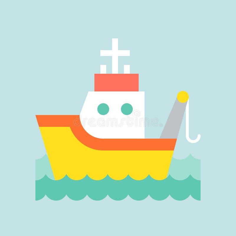 Fiska bogserbåtfartyget i havsvågsymbol, lägenhetdesign stock illustrationer