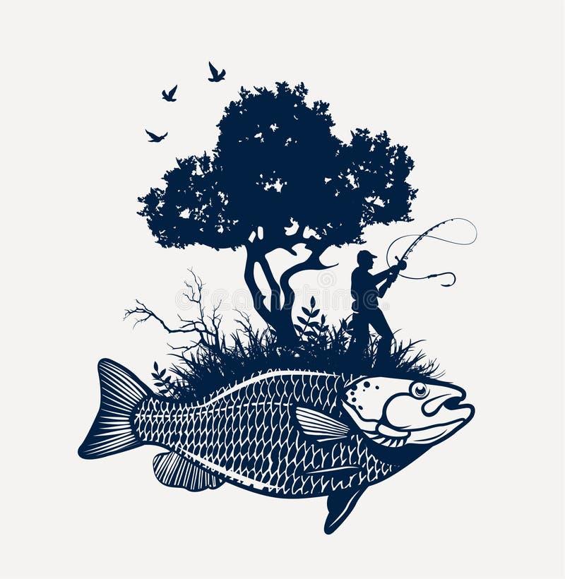 Fiska den dröm- sjön royaltyfri illustrationer
