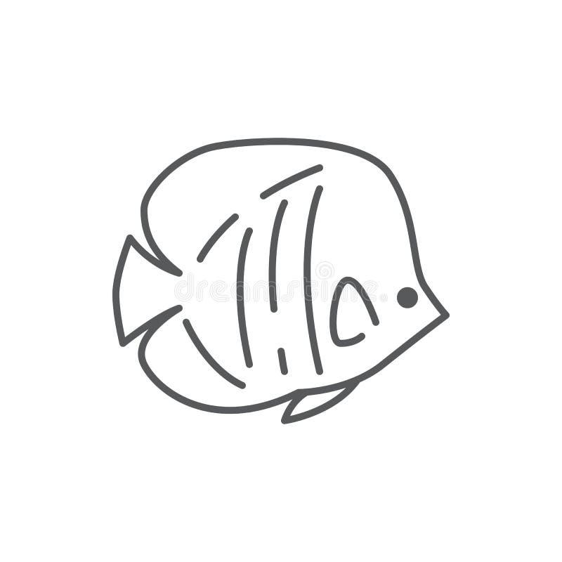 Fiska den redigerbara linjen symbol för havsdjuret - den härliga illustrationen för vektorn för hav- eller akvariumPIXELet som pe stock illustrationer