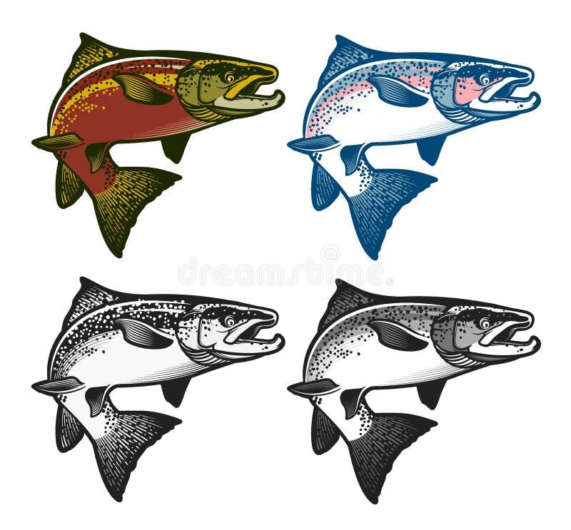 Fiska emblem, etiketter och designbeståndsdelar stock illustrationer