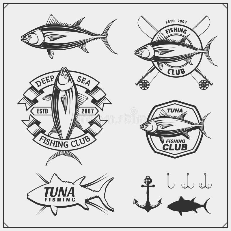 Fiska etiketter, emblem, emblem och designbeståndsdelar Illustrationer av tonfisk royaltyfri illustrationer