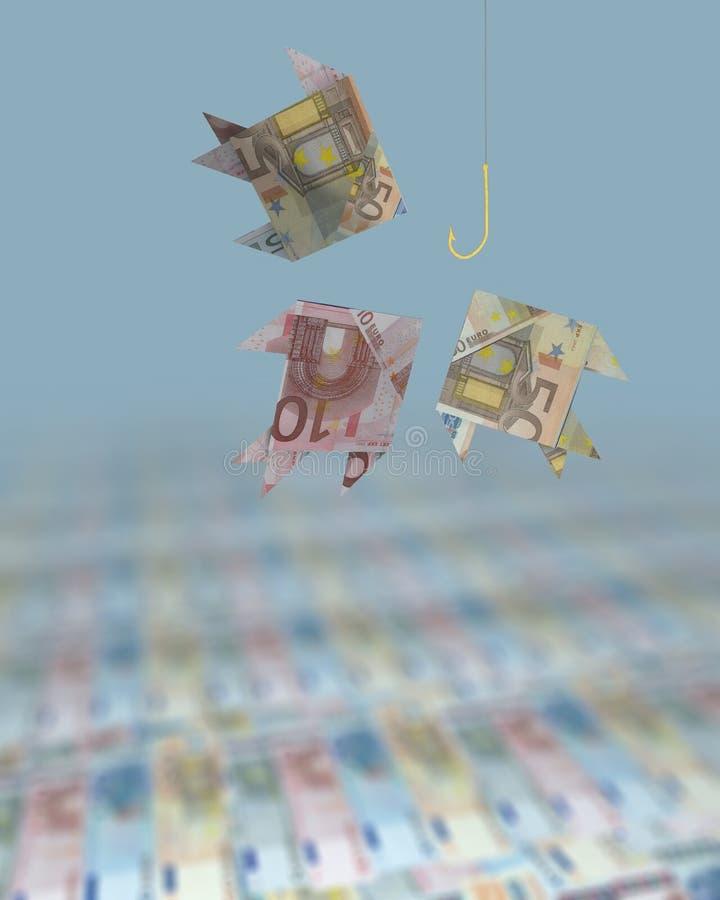 fiska för euros royaltyfri illustrationer