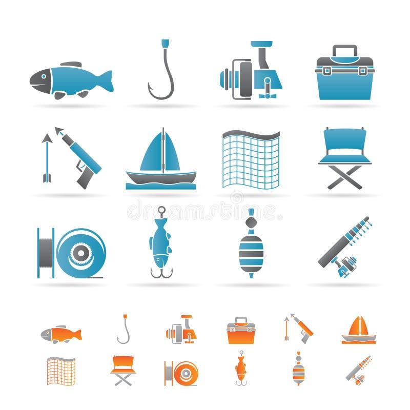 fiska feriesymboler stock illustrationer