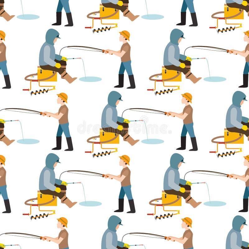 Fiska fisheren för fisken för fiskarevektorlås kastade stången in i vattenlås, och snurrandet, manhandtag förtjänar ut ur floden royaltyfri illustrationer