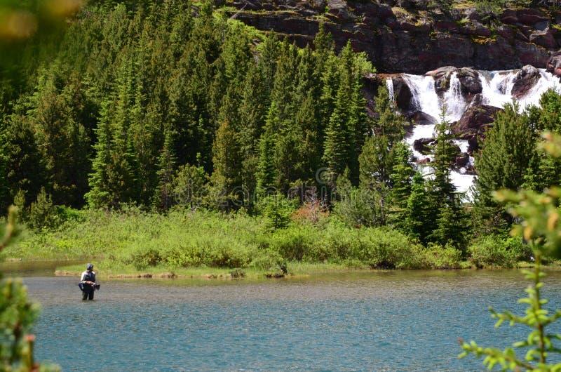 Fiska i Montana Lake arkivfoton