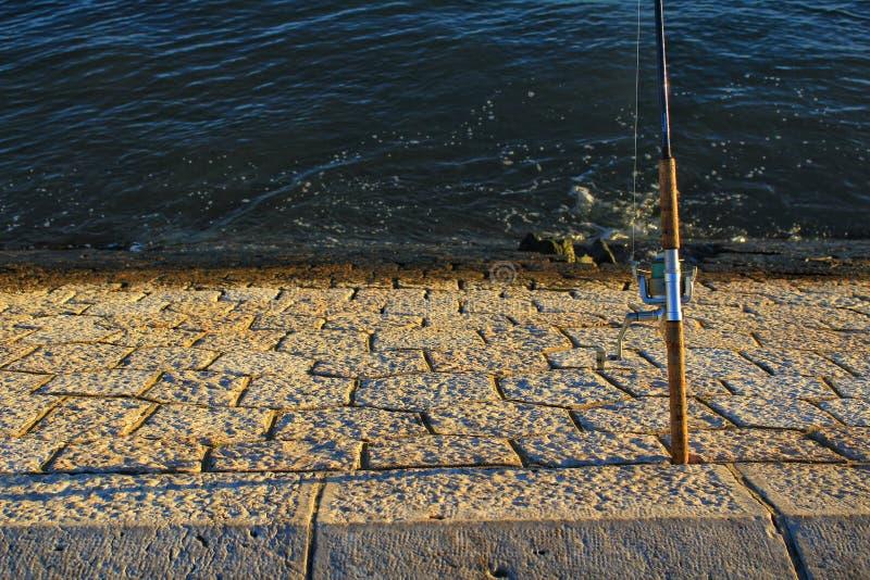 Fiska i Taguset River på solnedgången i Lissabon arkivfoto