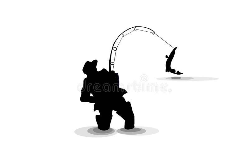 fiska isolatepikesilouette stock illustrationer