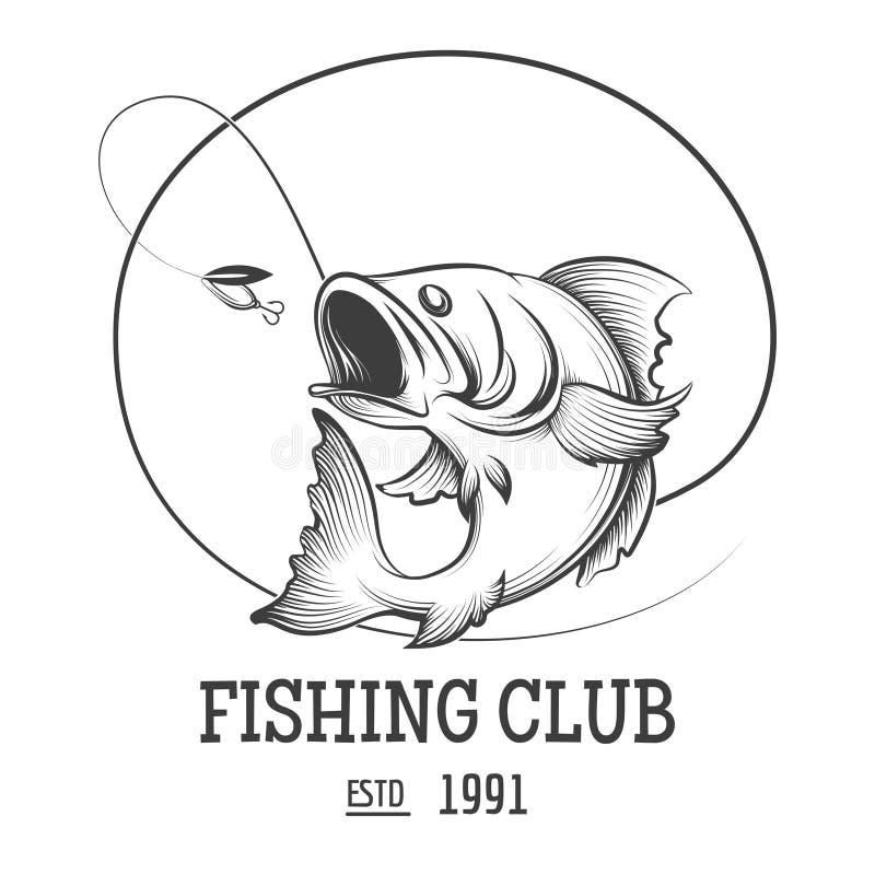 Fiska klubbalogo stock illustrationer