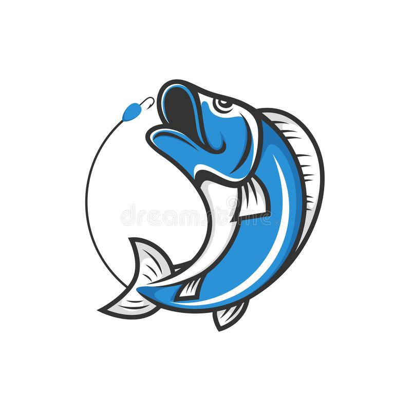 Fiska klubbalogo Hoppa fisken med bete och kroken royaltyfri illustrationer