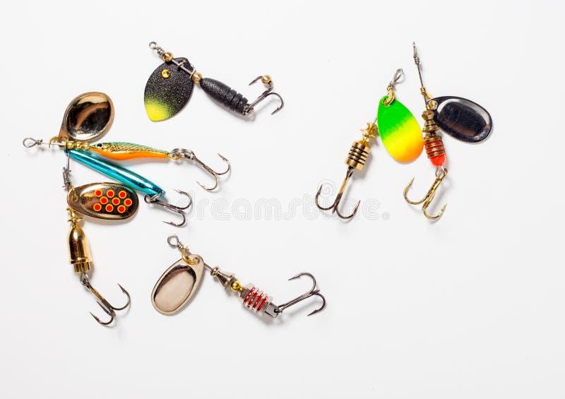Fiska krokar med bete royaltyfri fotografi