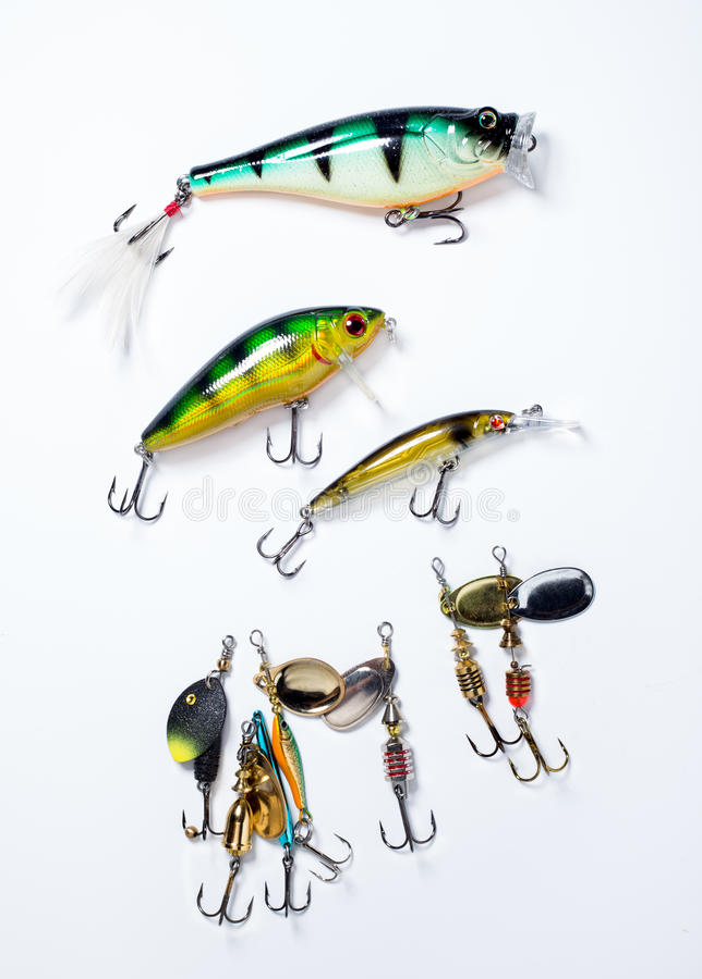 Fiska krokar med bete fotografering för bildbyråer