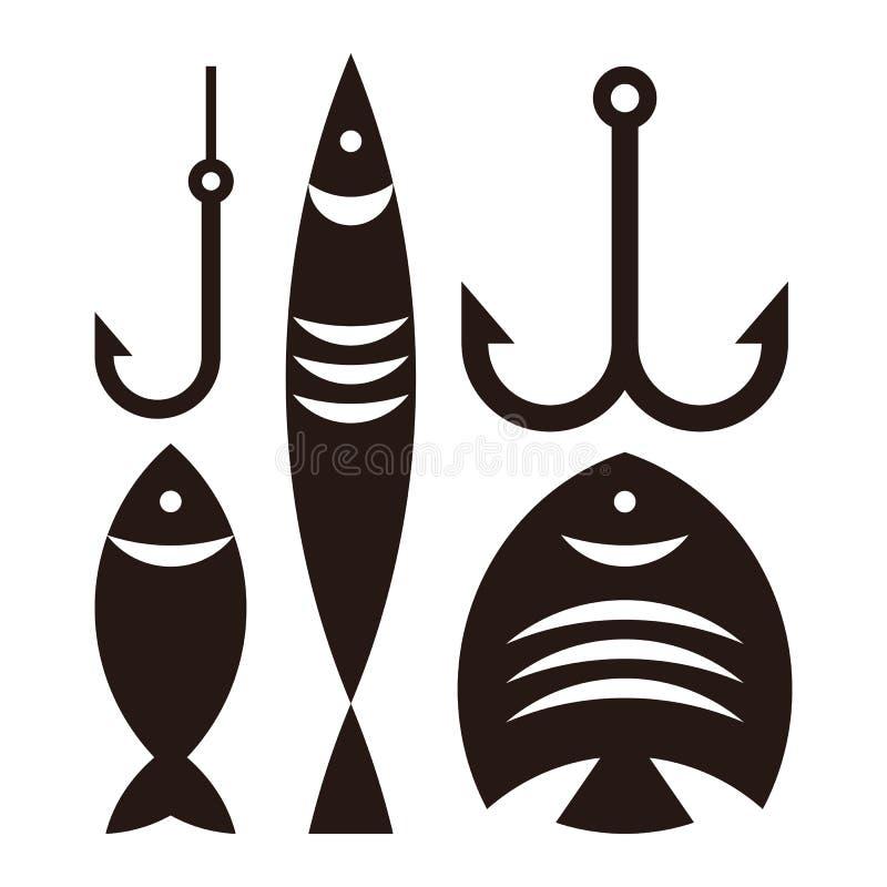 Fiska krokar och fiskar stock illustrationer