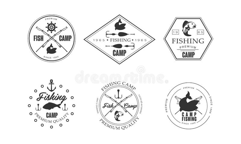 Fiska lägerlogo, djurliv, lopp, för etikettvektor för affärsföretag retro illustration på en vit bakgrund stock illustrationer
