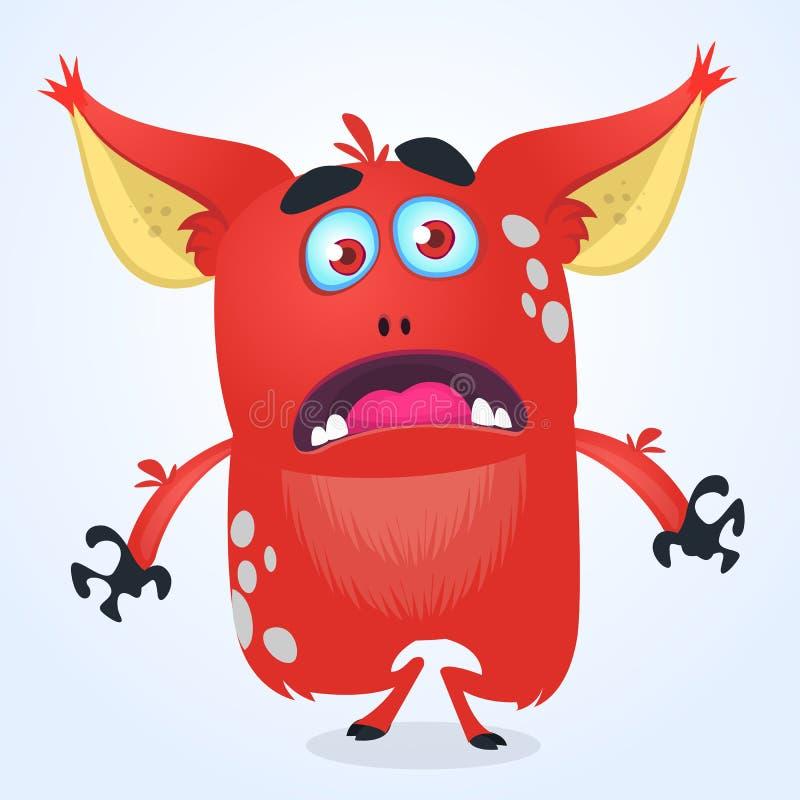 Fiska med drag i det ilskna röda smådjävula som orsakara felet för tecknad film eller monstret med stora öron Vektorillustration  vektor illustrationer