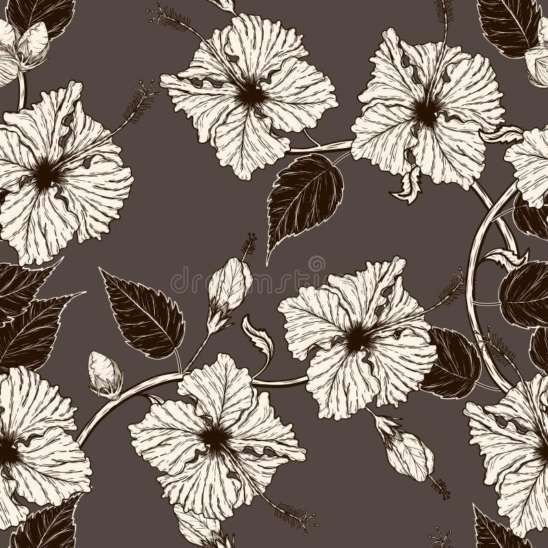 Fiska och blomma den sömlösa modellen på batiktorkduken vektor illustrationer
