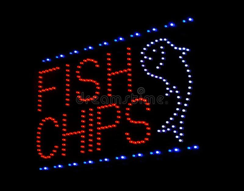 Fiska och gå i flisor undertecknar royaltyfria foton