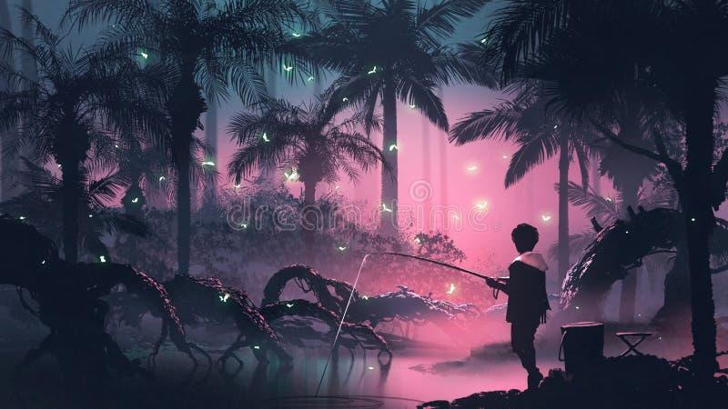 Fiska på nattträsket stock illustrationer