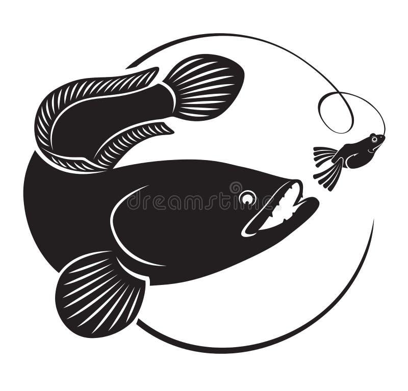 Fiska på snakeheaden vektor illustrationer