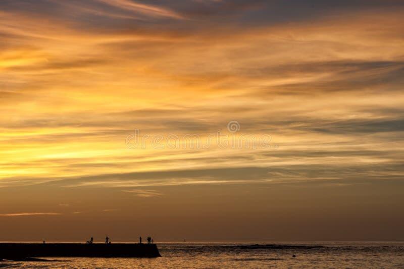 Fiska på solnedgången arkivfoton