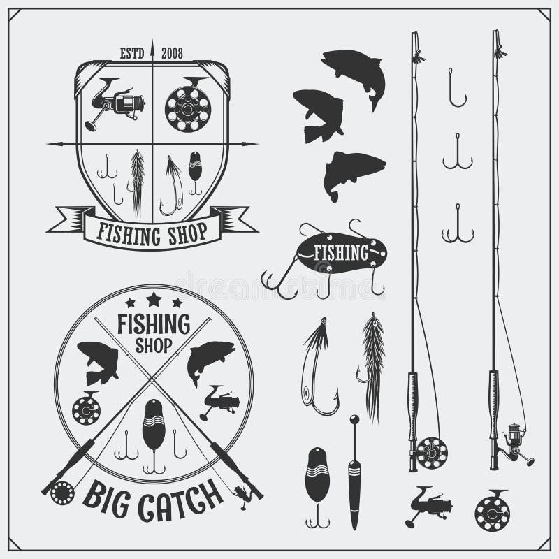 fiska set Fiska etiketter och emblem Fiskeutrustning, hakar och lockar royaltyfri illustrationer