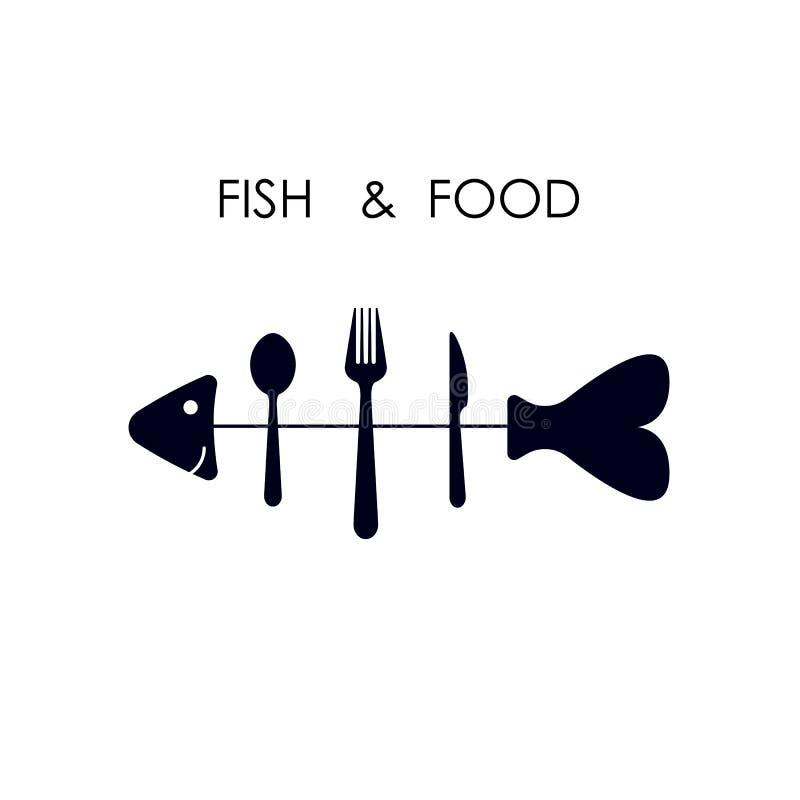 Fiska, skeda, dela sig och baktala symbolen Fisk royaltyfri illustrationer