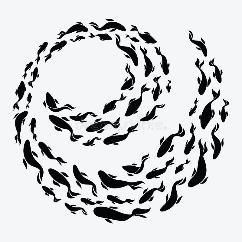 fiska skolan En grupp av konturfiskbadet i en cirkel Marin- liv också vektor för coreldrawillustration Tatuering Logofiskar royaltyfri illustrationer