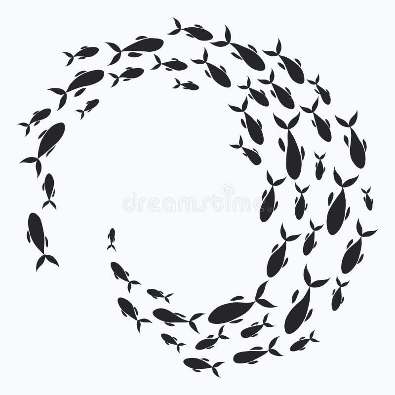 fiska skolan En grupp av konturfiskbadet i en cirkel Marin- liv också vektor för coreldrawillustration Tatuering royaltyfri illustrationer