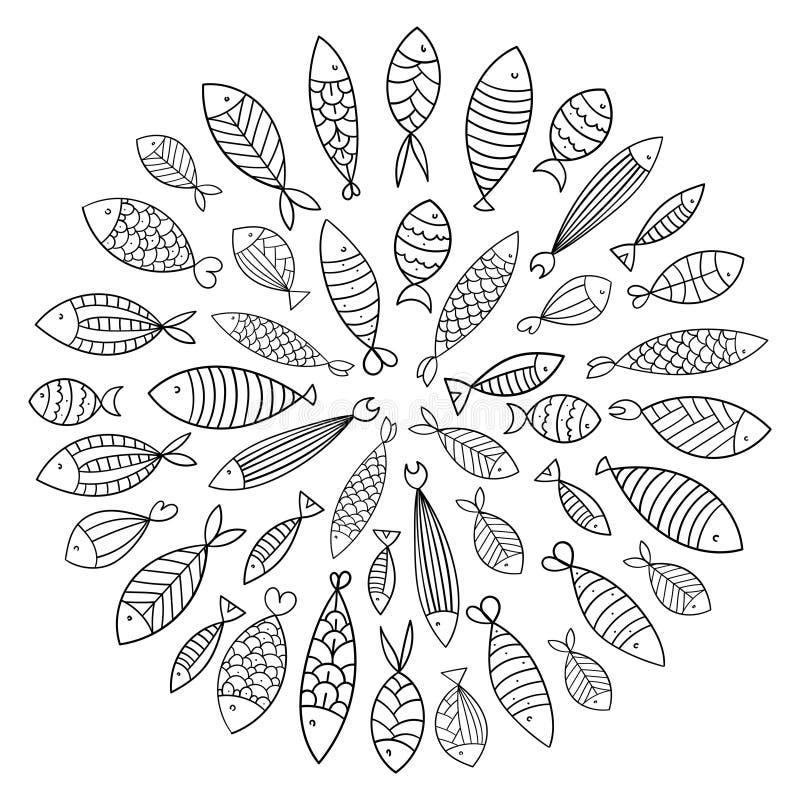 fiska skolan En grupp av stiliserad fisksimning i en cirkel Svartvit fisk för barn med prydnader flotta vektor illustrationer