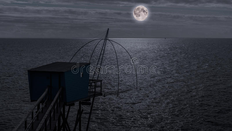 Fiska som förlägga i barack på natten