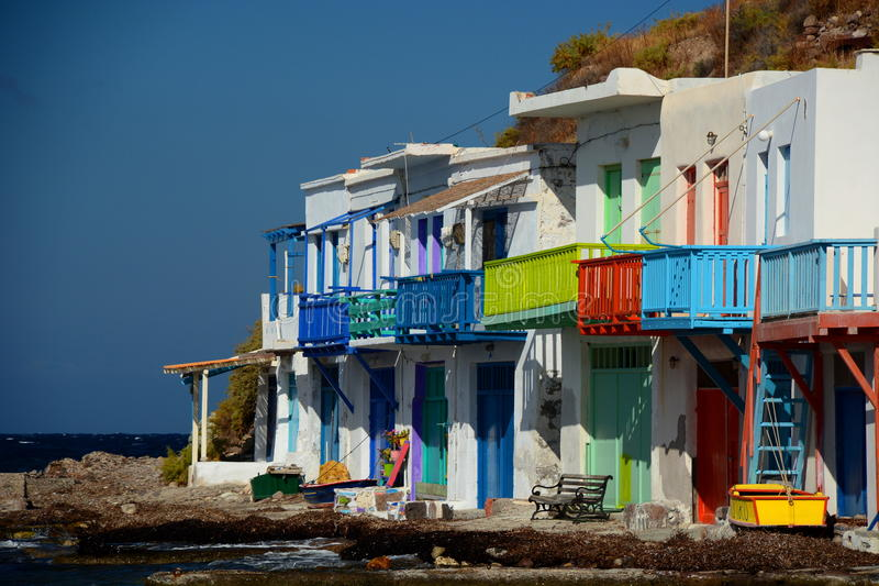 fiska traditionell by Klima Milos Cyclades öar Grekland royaltyfria bilder