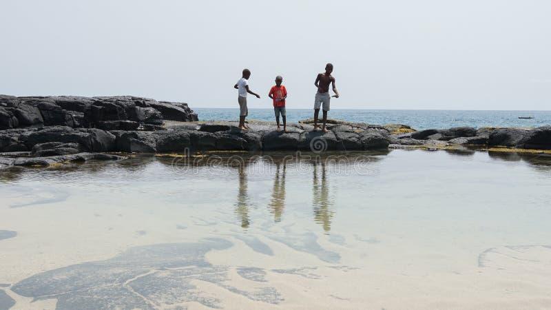Fiska ungar, Boca de Inferno, São Tomé och Príncipe fotografering för bildbyråer