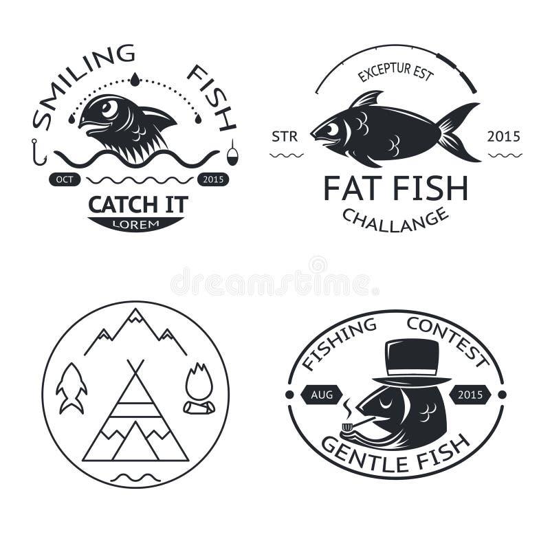 Fiska uppsättningen för symboler för logoer för emblemetikettbeståndsdelar stock illustrationer