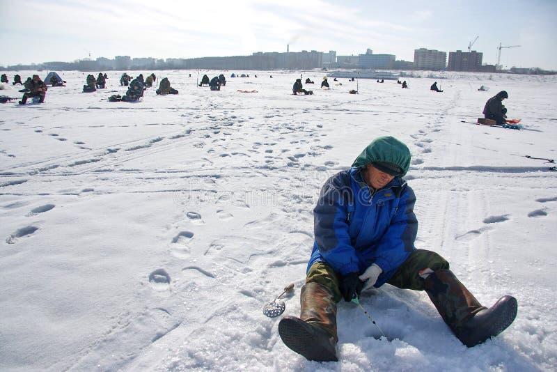 fiska vinter royaltyfria foton