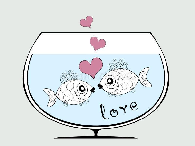 fiskar älskar två royaltyfri illustrationer