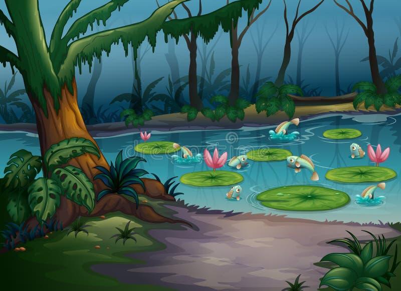 Fiskar i djungeln vektor illustrationer