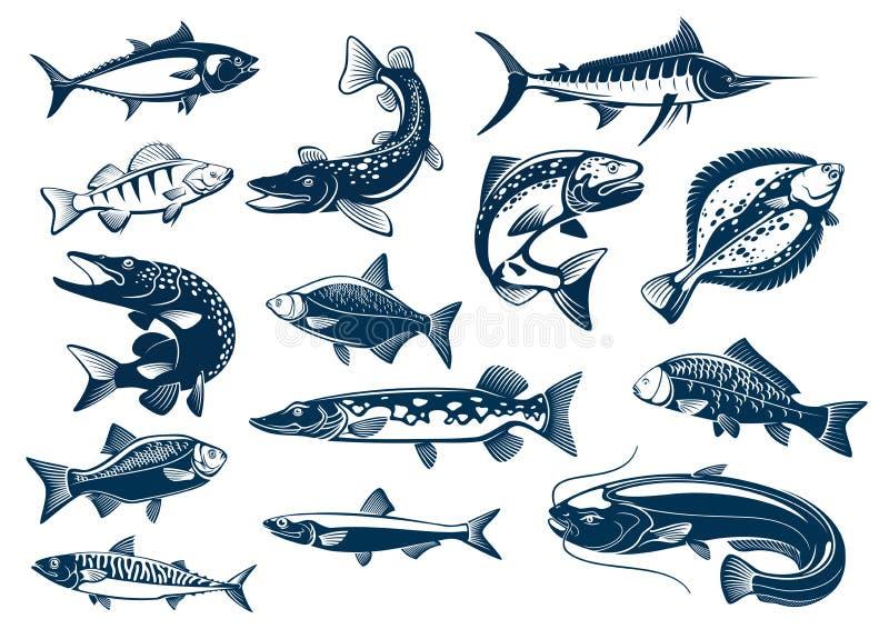 Fiskar isolerade symboler för art vektorn royaltyfri illustrationer