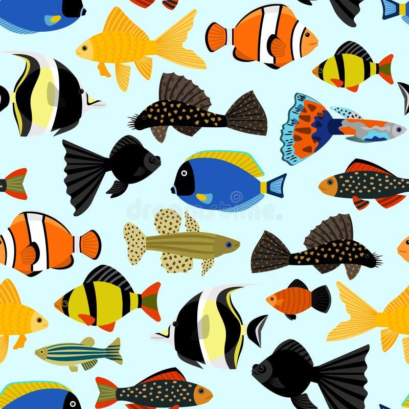 fiskar mönsan seamless Gullig bakgrund för tecknad filmakvariefiskdjur för tryck för ungevektorillustration stock illustrationer