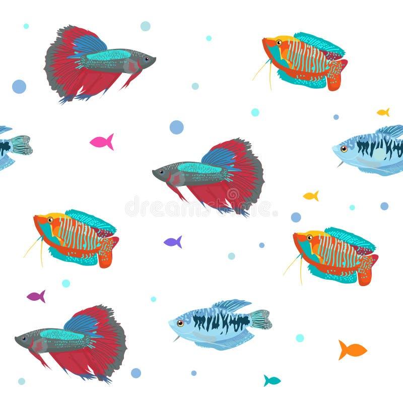 fiskar mönsan seamless Gullig bakgrund för tecknad filmakvariefiskdjur för tryck för ungevektorillustration royaltyfria bilder