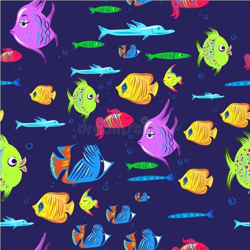 fiskar mönsan seamless Gullig bakgrund för tecknad filmakvariefiskdjur för tryck för ungevektorillustration royaltyfri illustrationer