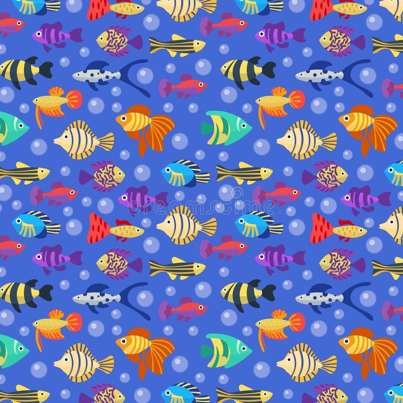 fiskar m?nsan seamless Ljus illustration för gullig tecknad film med olika färgrika djur och bubblor undervattens- vektor illustrationer